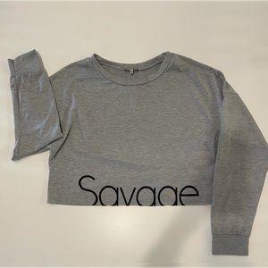 "Charlotte Russe Croped Sweatshirt ""Savage"""